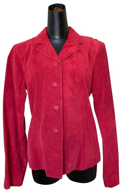 Item - Red Suede Shirt Jacket Size 6 (S)