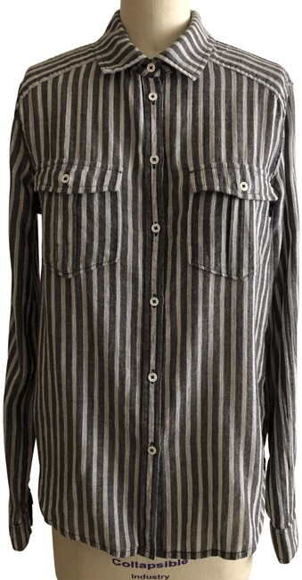 Item - Black and White Black/White Caldwell Stripe Shirt Button-down Top Size 4 (S)