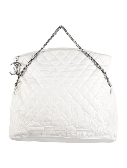 Item - Hobo Timeless Grand Shopping Gst Soft Caviar Quilted Jumbo Cc Logo 12a White Ivory Cream Silver Lambskin Leather Tote