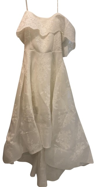Item - White Tulip Lace Gown Mid-length Formal Dress Size 4 (S)