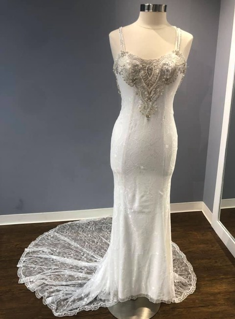Item - Ivory Bridal Stretch Lace Fitted Bridal Gown with Sexy Strappy Ba Casual Wedding Dress Size 4 (S)