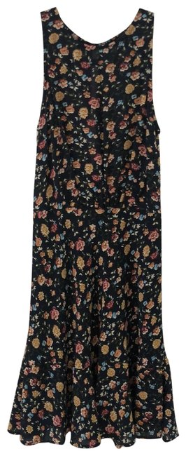 Item - Navy/Multi Mid-length Short Casual Dress Size 0 (XS)