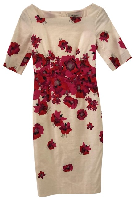 Item - White/Pink/Red L Mid-length Night Out Dress Size 2 (XS)