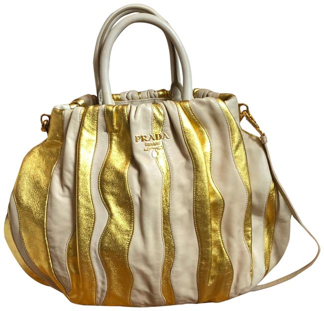 Item - Nappa Waves/Stripes Gold Lambskin Leather Satchel