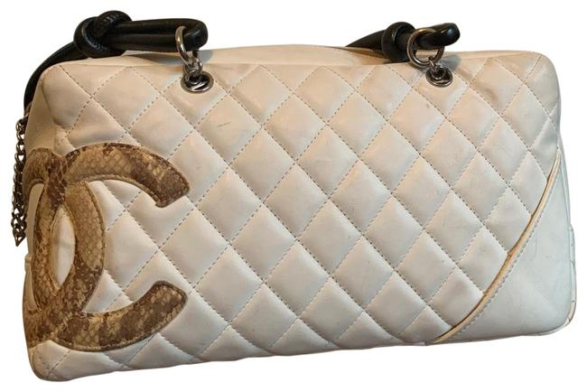 Item - Cambon Quilted Bowler White/ Black Straps/ Snake Skin Cc Lambskin Leather Satchel