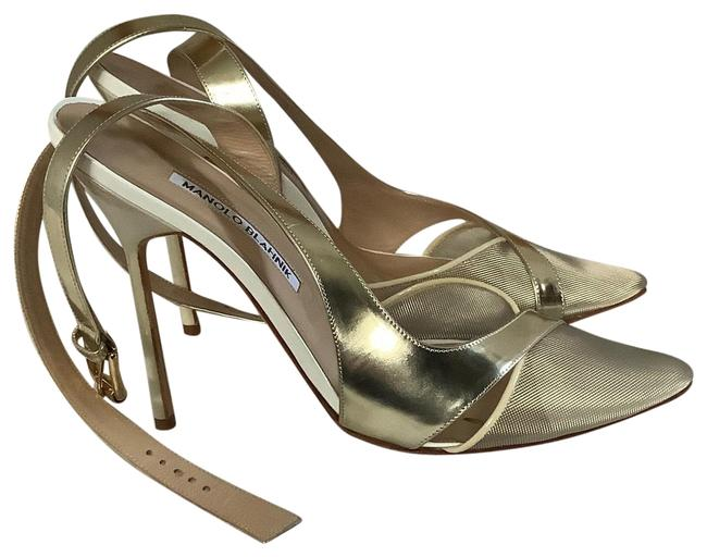 Item - Gold Silver White and Tan Leather Stiletto Heels Pumps Size US 8 Regular (M, B)