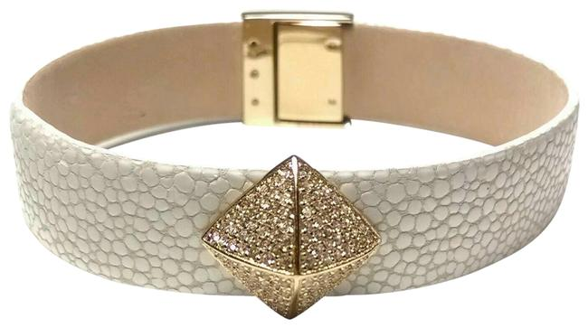 Item - White Embossed Leather Rhinestone Stud Bracelet