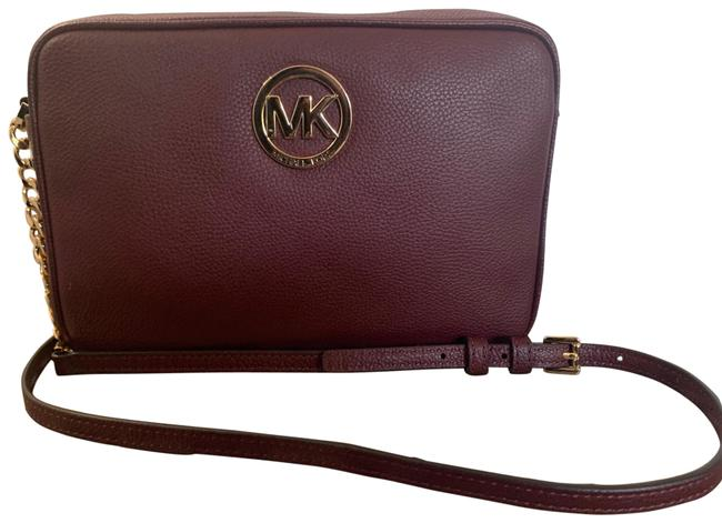 Michael Kors Collection Mk Monogram Burgundy Leather Cross Body Bag Michael Kors Collection Mk Monogram Burgundy Leather Cross Body Bag Image 1