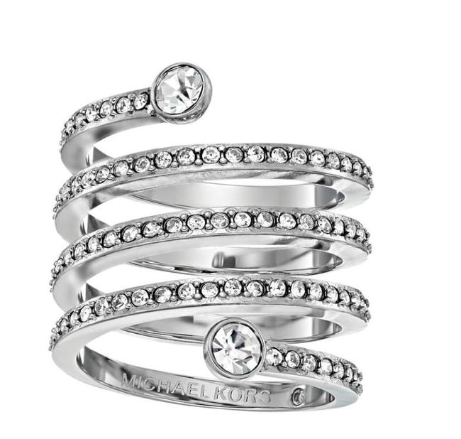 Item - Silver Twist Pave Crystal Coil Ring