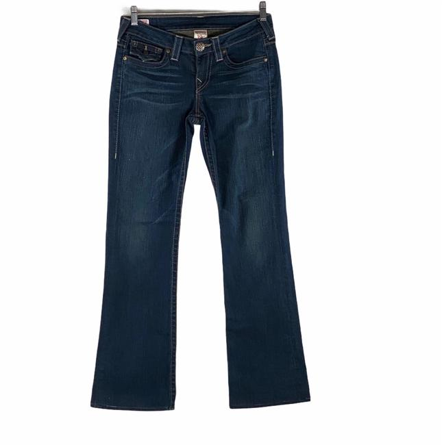 Item - Blue Dark Rinse Becky Reclaimed with Crystal Broach Denim Straight Leg Jeans Size 6 (S, 28)