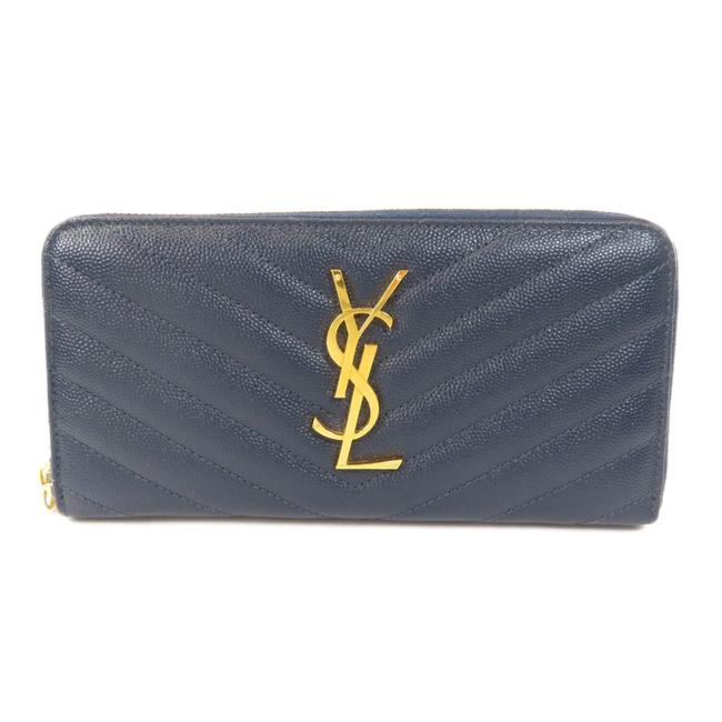 Item - Navy Long Stitch Leather Ladies Wallet