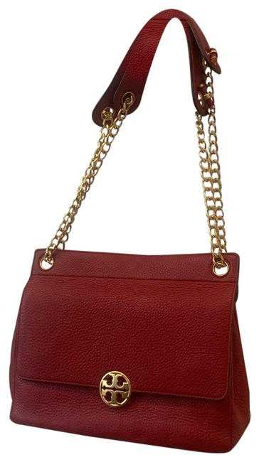 Item - Chelsea Flap Red and Gold Leather Cross Body Bag