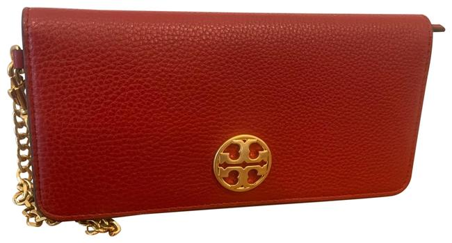Item - Chelsea Pouch Red and Gold Leather Wristlet