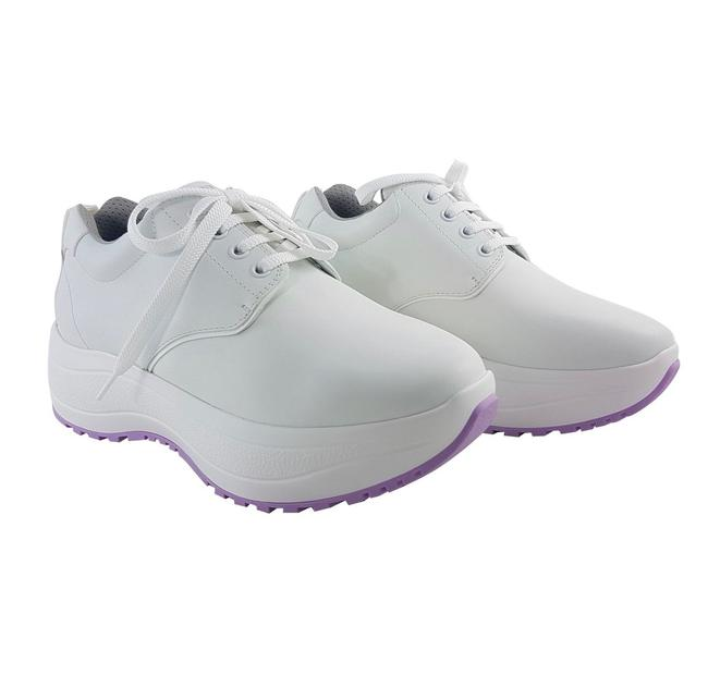 Item - White and Purple Leather Delivery Sneakers Size US 9 Regular (M, B)