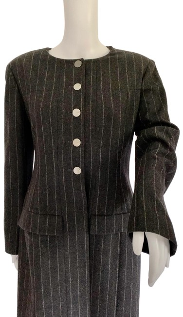 Item - Gray Charcoal Merino Wool Pinstriped Long Jacket Clean Pant Suit Size 12 (L)