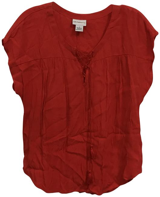 Item - Red Tie-front Cap Sleeve Blouse Size 6 (S)