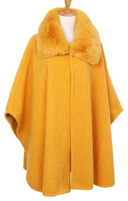 Item - Yellow Mustard Fur Collar Coat Jacket Poncho/Cape Size OS (one size)