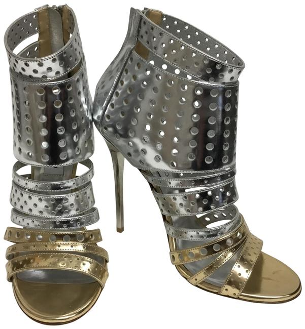 Item - Silver And Gold Perforated Leather Ankle Boots/Booties Size EU 38.5 (Approx. US 8.5) Regular (M, B)