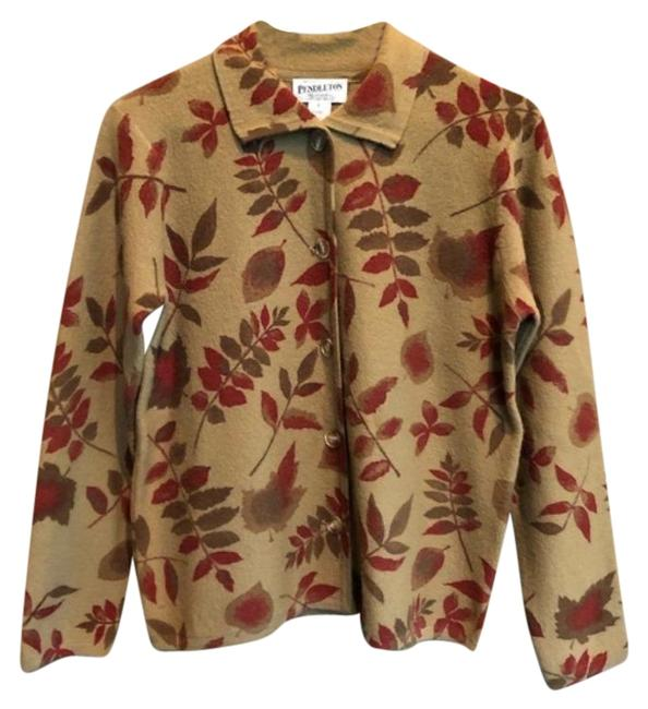 Item - Brown Red Vintage Wool Fall Leaves Small Cardigan Size 4 (S)