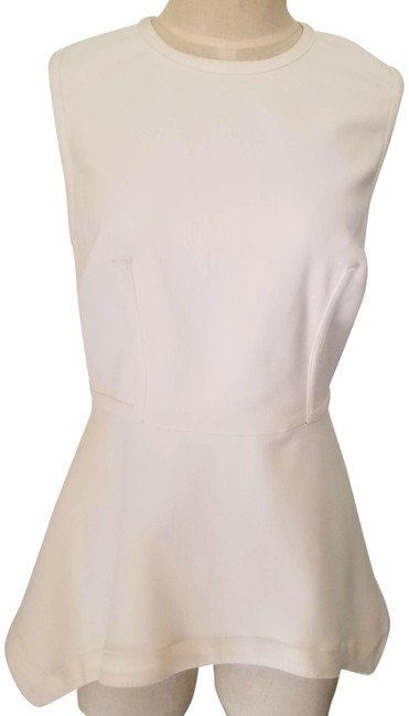 Item - Ivory Peplum Fitted Zip Down Stretchy Dress Tank Blouse Size 8 (M)