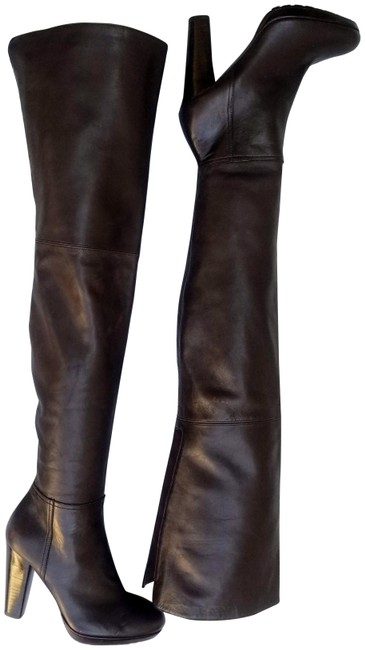 Item - Brown Over The Knee Leather Heeled Boots/Booties Size US 8 Regular (M, B)