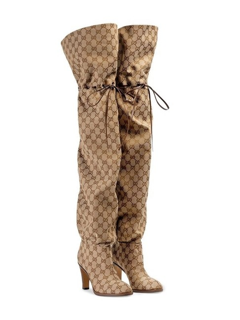 Item - Beige Gg 85mm Canvas Over-the-knee Boots/Booties Size EU 37 (Approx. US 7) Regular (M, B)