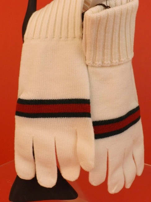 Item - White XL Wool Knit Ribbed Cuff Green Red Web Logo Gloves #294732 Men's Jewelry/Accessory