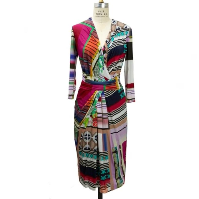 Item - Multicolor Color Printed Mid-length Cocktail Dress Size 6 (S)