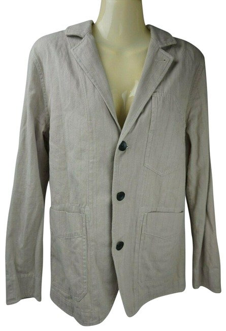 Item - Beige Women's Triple Button Striped Cotton Blazer Size 2 (XS)