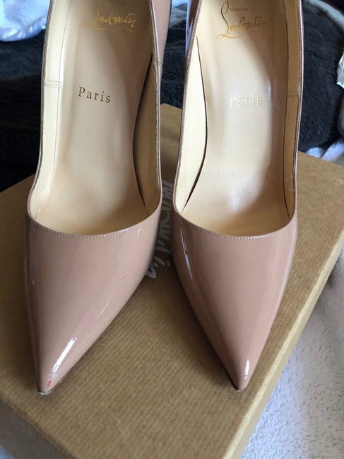CHRISTIAN LOUBOUTIN Patent So Kate 120 Pumps 39 Nude 320022