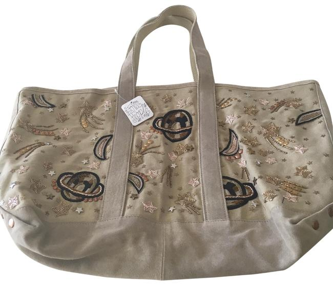 Item - Sparkling Oversized Ivory/Natural Suede Leather Tote