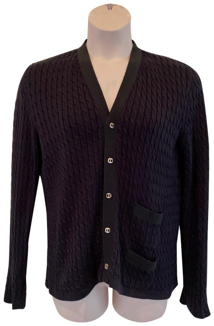 Item - Black Made In Italy Cotton Knit Cardigan Size 6 (S)
