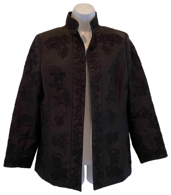 Item - Black Ellen Tracy Open Front Soutache Appliques Silk Blaz Blazer Size 10 (M)