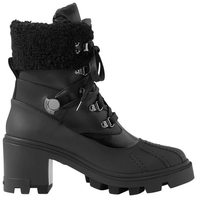 Item - Black Corinne Leather and Faux Shearling-trimmed Rubber Ankle Boots/Booties Size EU 39 (Approx. US 9) Regular (M, B)