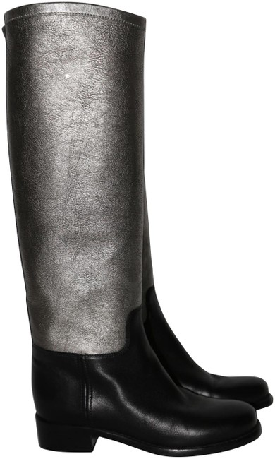 Item - Silver Black Leather Knee-high Boots/Booties Size US 5 Regular (M, B)