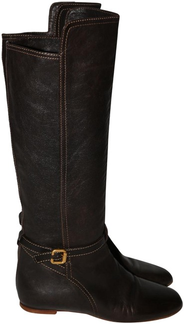 Item - Brown Womens Low Heel Leather Knee-high Boots/Booties Size US 7.5 Regular (M, B)