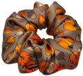 Handmade Fall Pumpkins Acorns Pure Silk Scrunchie