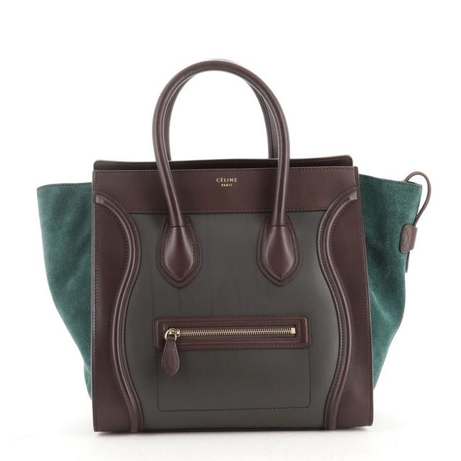 Item - Tri-Fold Luggage Tricolor Mini Brown Green Leather Weekend/Travel Bag