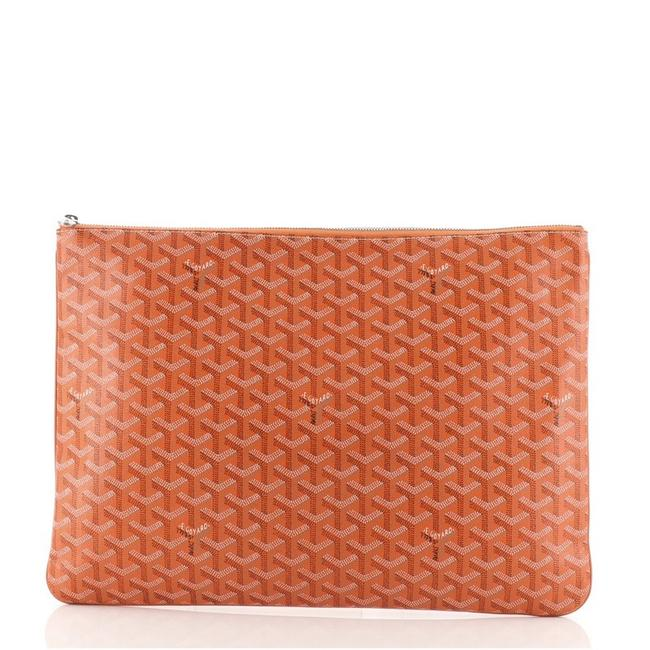 Item - Senat Zip Pouch Coated Gm Orange Canvas Clutch