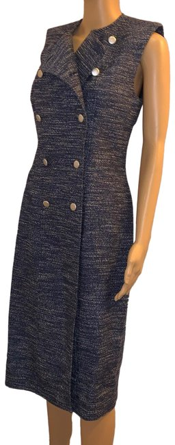 Item - Marled Blue/White Cotton/Silk Blend Mid-length Work/Office Dress Size OS (one size)