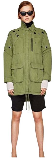 Item - Green New Metal Trims Parka Coat Size 6 (S)