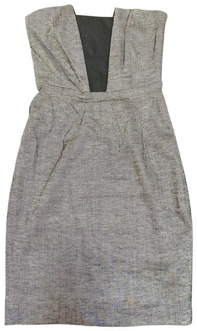 Item - Dark Gray with Black Bodycon Strapless Mid-length Night Out Dress Size 0 (XS)