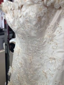Maggie Sottero Light Gold/Champagne Accent Tulle Lace Overlay Rhianna Royale Destination Wedding Dress Size 12 (L)