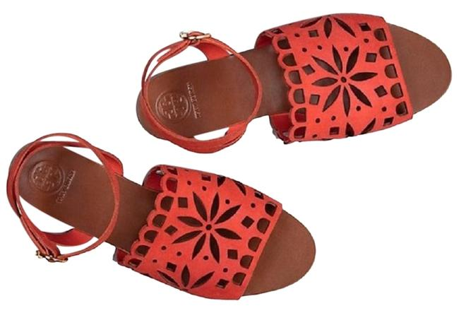 Item - Orange May Perforated Ankle Strap Sandals Size US 6.5 Regular (M, B)
