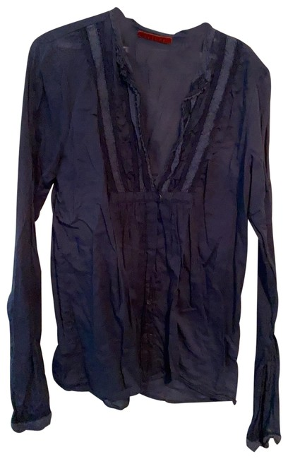 Item - Navy Lace Embroidered Blouse Size 16 (XL, Plus 0x)