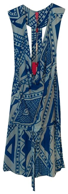 Item - Blue Chambray Printed Cowl Racer Back Sleeveless Blouse Size 12 (L)