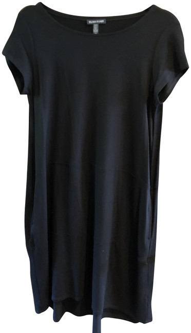 Item - Black Knit Sleeved Mid-length Short Casual Dress Size 6 (S)