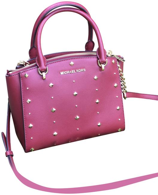 Item - Eliss Stud Small Convertible Cherry / Gold Leather Cross Body Bag