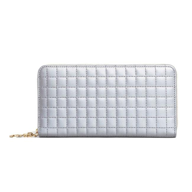 Item - Silver Women's Continental Quilted Zipped Leather Wallet