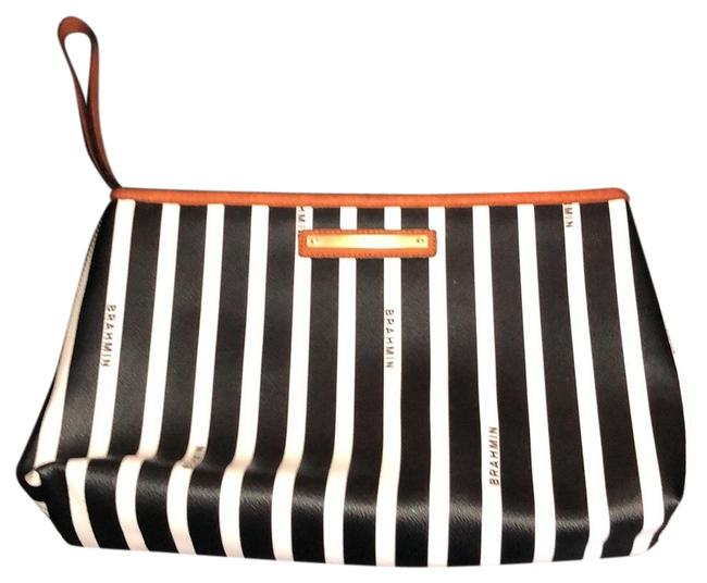 Brahmin Black and White Leather Clutch Brahmin Black and White Leather Clutch Image 1
